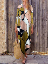 Load image into Gallery viewer, Fashion Print V Neck Long Sleeve Maxi Dress