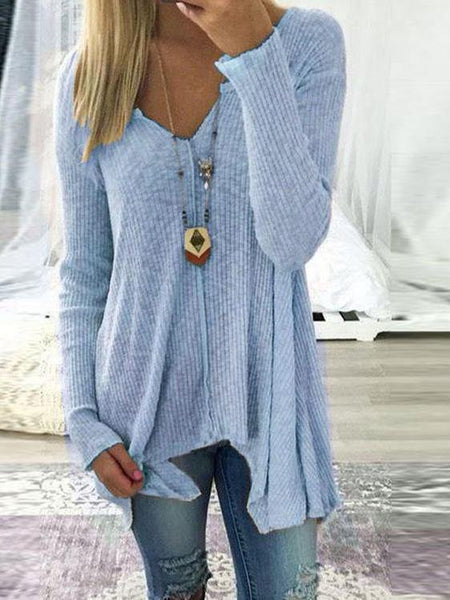 V Neck Long Sleeve Irregular T Shirt Tops