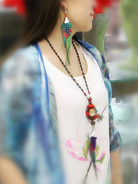 Peacock Feather Ethnic Long Earrings