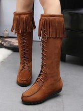 Load image into Gallery viewer, Winter Vintage Tassel High Boots