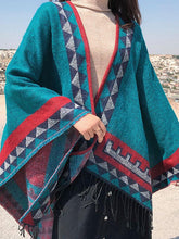 Load image into Gallery viewer, Retro Style Vintage Pattern Bohemian Tassel Shawl Cape