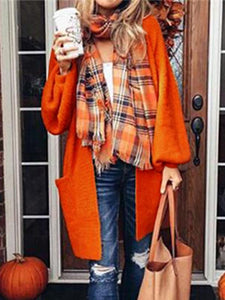 Casual Solid Color Knitted Cardigan Sweater