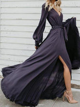 Load image into Gallery viewer, Sexy V Neck Long Sleeve Split Maxi Dress with Belt
