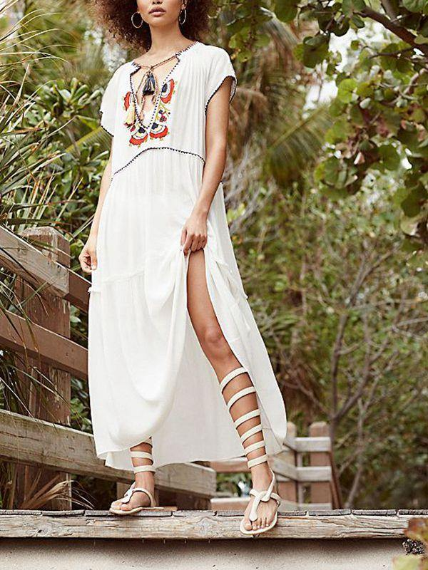 Summer Embroidered Holiday V-neck Protective Cover-up