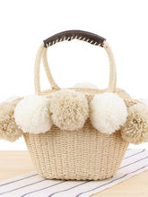 Load image into Gallery viewer, Casual Woven Big Wool Ball Beach Straw Handbag