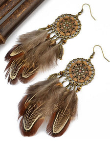 Bohemia Feather Tassels Earrings Accessories