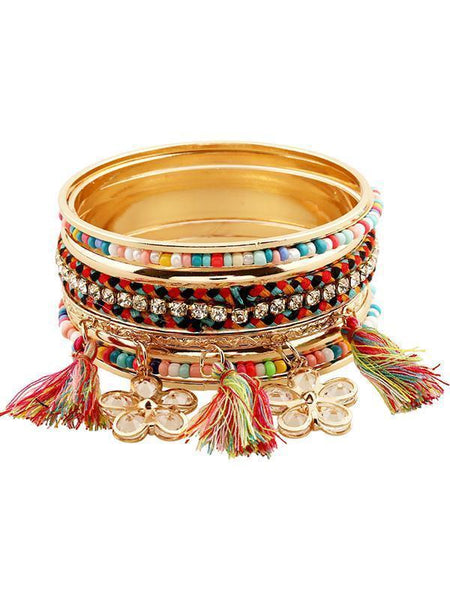 Vintage Multilayer Flower Beads Tassels Bracelet