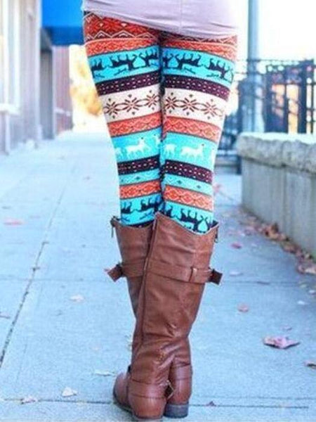 Christmas Blue Elk Tribal Pattern Leggings