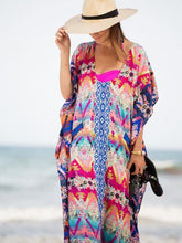 Load image into Gallery viewer, Loose Waist Bohemia Red and Blue Maxi Beach Dress