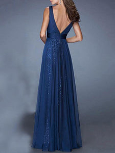 Evening Chiffon Backless Straps V-neck Maxi Dress