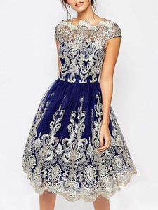 Elegant Lace Cap Sleeve Midi Dress Evening Dress