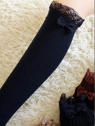 Pretty Lace Solid Color Over Knee-high Stocking