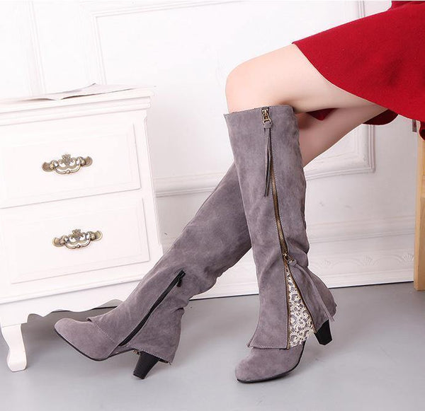 Zipper Tassels High Heels Boots Shoe