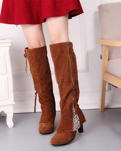 Load image into Gallery viewer, Zipper Tassels High Heels Boots Shoe