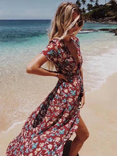 Load image into Gallery viewer, Floral Split-side Bohemia Wrap Dress
