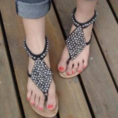 Bohemia Beads Decorated Beach Flat Sandals