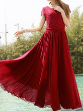 Load image into Gallery viewer, Elegant Solid Color Chiffon Short Sleeve Maxi Dress
