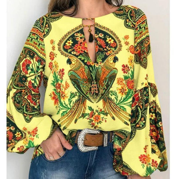 Boho Blouse Floral Print Lantern Sleeve Shirt Sexy Lace-up Tassel O Neck Women Tops