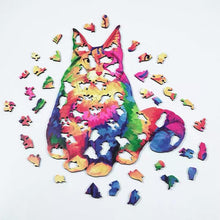 Load image into Gallery viewer, Rainbow Cat Wooden Puzzle