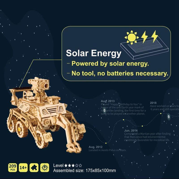 Wooden 3D assembled creative DIY puzzle -Space Hunting Solar Energy Toy