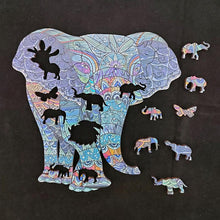 Load image into Gallery viewer, Happy Elephant wooden puzzle