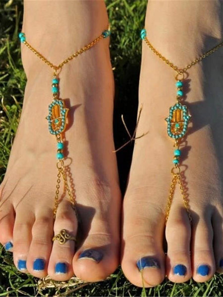 Bohemian Women Ethnic Summer Boho Beads Barefoot Anklets Metal Chain Beach Jewelry