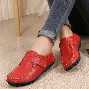 Soft Leather Pure Color Hook Loop Flat Comfortable Loafers