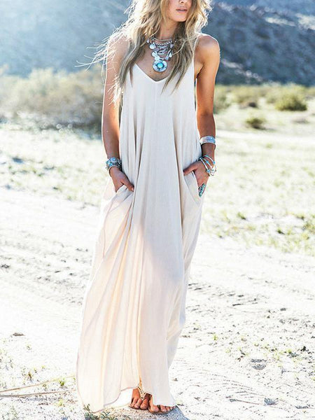 White Spaghetti Straps V Neck Loose Maxi Dress