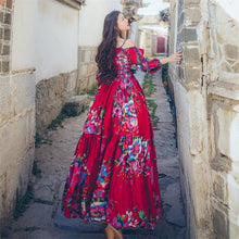 Load image into Gallery viewer, Retro Ethnic Boho Big Swing Floral Printed Maxi Dress