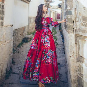 Retro Ethnic Boho Big Swing Floral Printed Maxi Dress