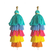 Load image into Gallery viewer, Handmade long tassel colorful bohemia style statement fashion party
