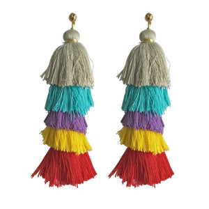 Handmade long tassel colorful bohemia style statement fashion party
