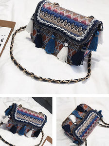 Knitting Tassels Single-shoulder Bag