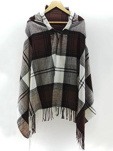 Bohemia Checked With Hat Cape Outwear