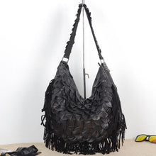 Load image into Gallery viewer, Pure Sheepskin Bohemian Soft Color and Black Tassel One Shoulder Crossbody Bag