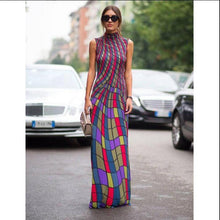 Load image into Gallery viewer, Sleeveless Turtle Neck Floral Checked Maxi Dress