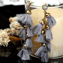 Load image into Gallery viewer, Wild European and American fashion handmade fur ball drill tassel long earrings earrings earrings Bohemia