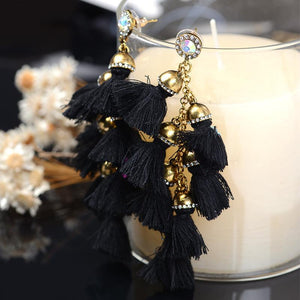 Wild European and American fashion handmade fur ball drill tassel long earrings earrings earrings Bohemia