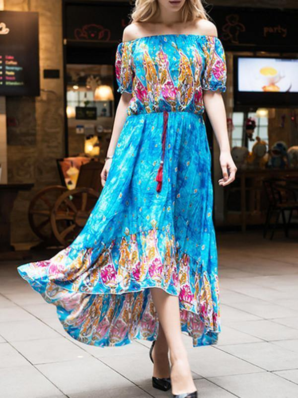 Bohemia Floral-Print Short Sleeve Off-Shoulder Tassels Beach Dress