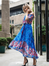 Load image into Gallery viewer, Bohemia Floral-Print Short Sleeve Off-Shoulder Tassels Beach Dress