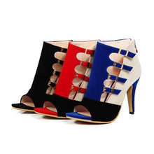Load image into Gallery viewer, Colorblock Splicing Hollow Out Buckled Thin Heels