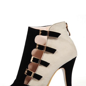 Colorblock Splicing Hollow Out Buckled Thin Heels