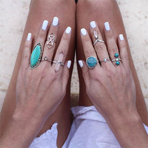 Vintage Bohemian Natural Stone Turquoise Adjustable Rings Jewelry