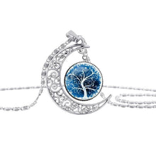 Load image into Gallery viewer, Colorful Hollow Tree of Life Necklaces Moon Pendant Necklace