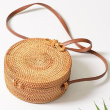 Load image into Gallery viewer, Round Rattan Butterfly Forest Handmade Bohemia Bag