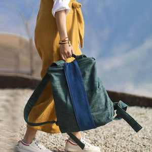 Cotton Splicing Women Casual Soft Green Backpack
