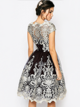 Load image into Gallery viewer, Elegant Lace Cap Sleeve Midi Dress Evening Dress