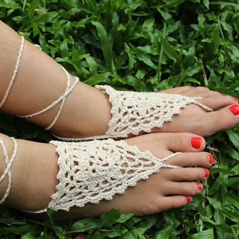 Handmade cotton thread flower anklet bracelet - 2