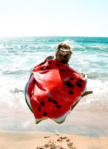 Hot Sale Creative watermelon printed sunscreen beach towel round bath towel shawl outdoor yoga mat