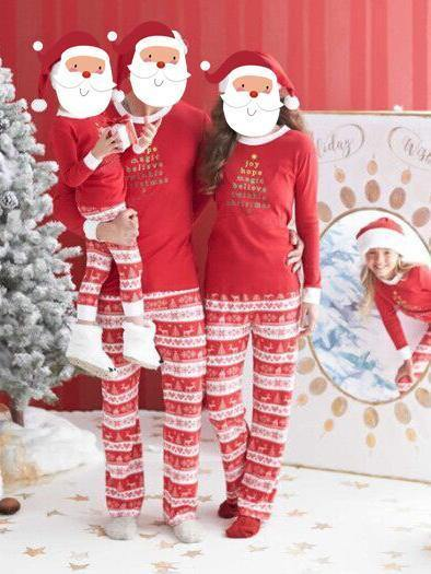 Christmas Day Plus Size Family Clothing Pajamas Autumn Winter Long Sleeve Letter Print Top And Long Print Pants Trousers One Set